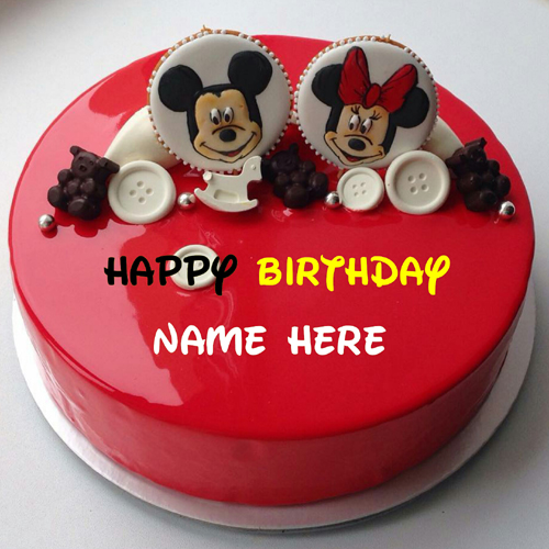 Mickey And Minnie Mouse Birthday Cake With Name For Kid
